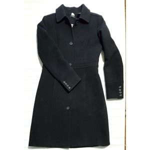 J Crew Black Double Wool Day Trench Coat 10 M L